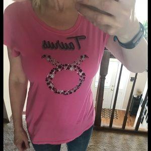 Tops - Pink Taurus Zodiac shirt Fits like  M women's
